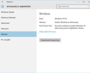 Na tomto zařízení je systém Windows 10 aktivovaný pomocí digitálního nároku.