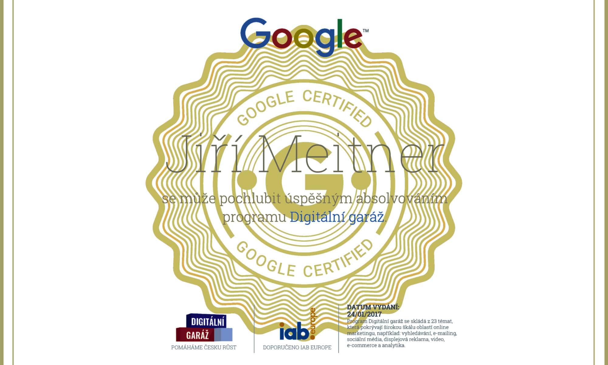 Googole certifikát digitální garáž