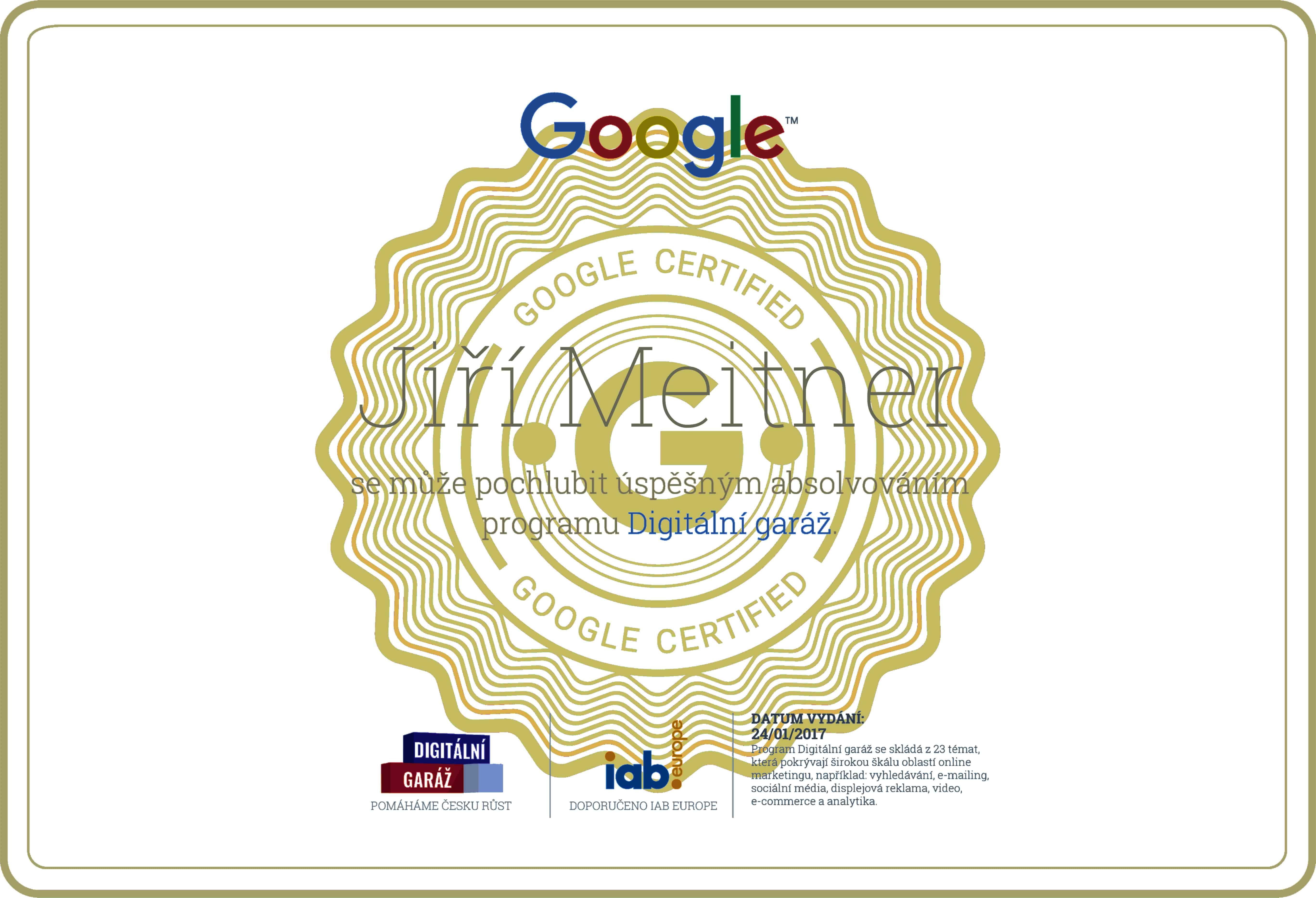 certifikát digitální garáž - Jiří Meitner