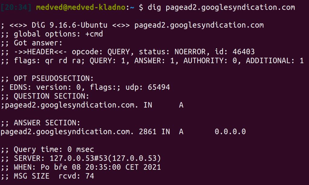 Ukázka, jak se zeptat linuxovým programem dig na IPv4 adresu domény:  dig pagead2.googlesyndication.com
