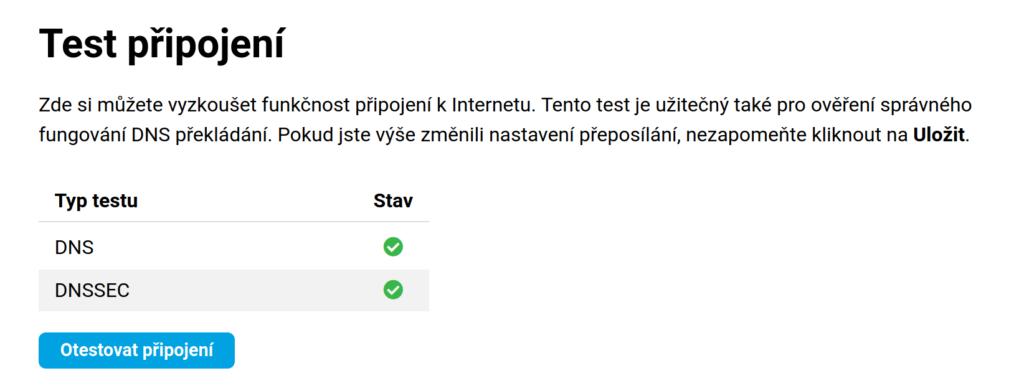 Test připojení s DNS serverem adguardu byl úspěšný