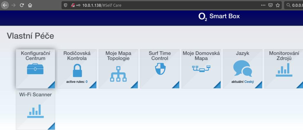 Vstup do webového rozhraní O2 Smart Boxu  http://10.0.1.138/configurator/advConfigNetworkDns.html